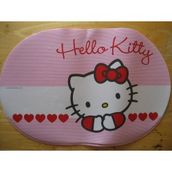 "Set de table Hello Kitty ""Tetes de Kitty""  blanc et rose 44x28cm"