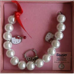 Bracelet en perles Hello Kitty avec 3 têtes de Kitty L18cm+5cm de chainette