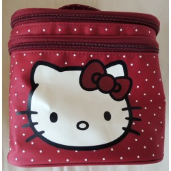 Vanity/trousse Hello Kitty rouge a poids blancs 18x18x16cm