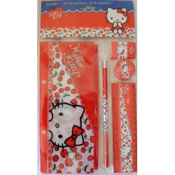Kit trousse, crayon, gomme règle et taille crayon Hello Kitty rouge