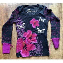 """T-Shirt manches longues Desigual """"Flowers"""" taille XS"""