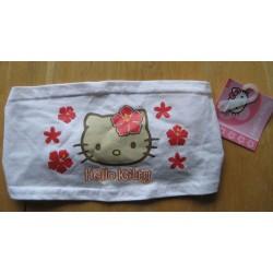 Bandeau pour cheveux Hello Kitty blanc hibiscus