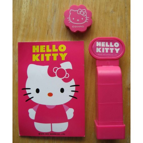 Kit tampons encreurs, gomme et calepin Hello Kitty