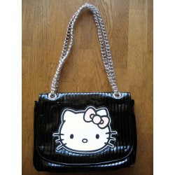 Sac à mains Hello Kitty Victoria Couture en simili cuir noir verni 30x25cm