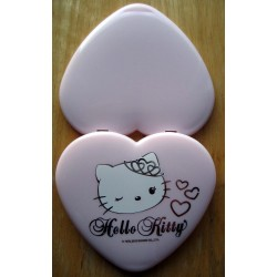 "Miroir Hello Kitty rose ""Hello Kitty mon amour"" en forme de coeur de 8cm"