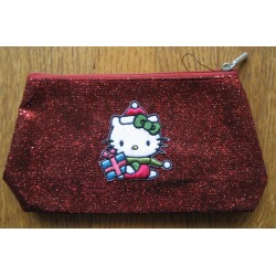 Trousse Hello Kitty rouge strassée 20x10cm