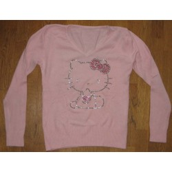 Pull col V rose Hello Kitty strassé taille S
