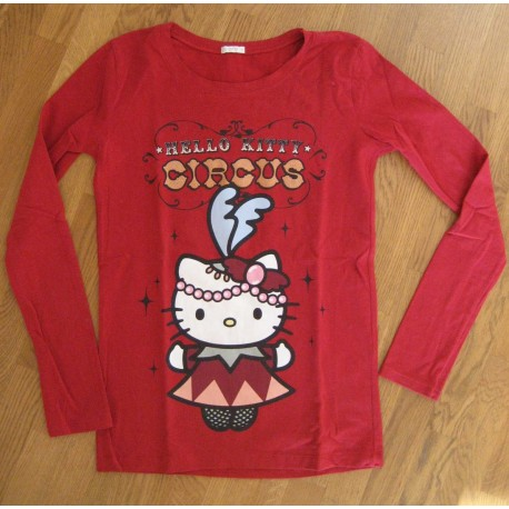 Tee-Shirt Hello Kitty manches longues rouge Circus Taille S
