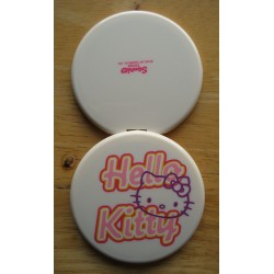 "Miroir Hello Kitty beige ""Wish you were here"" 7cm de diamètre."