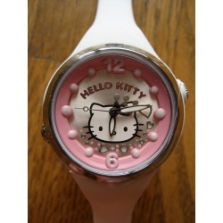 Montre Hello Kitty rose, argenté et blanc bracelet rubber