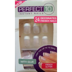 """Kit faux ongles """"French Glitter"""", 24 pieces"""
