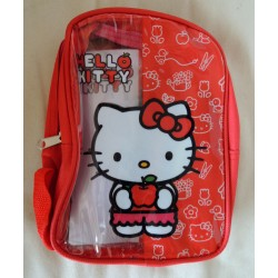 Mini sac a dos Hello Kitty rouge avec Kit de coloriage 22x16x6cm
