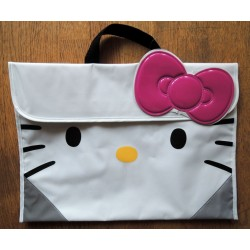 Sac cartable Hello Kitty blanc et gris 37,5x27cm