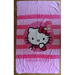 Drap de plage rose rayé Hello Kitty 120x70cm