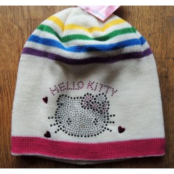 "Bonnet Hello Kitty blanc strassé ""tete de Kitty arc en ciel"" taille 54"