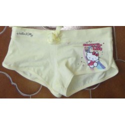 """Short Hello Kitty """"Enjoy the time of your life"""" jaune Taille XS"""