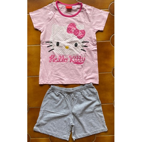 "T-shirt et Short Hello Kitty rose  ""Tete bleue"" taille 12/13 ans"